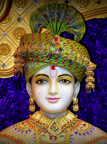 Lord Swaminarayan Idol Dressed-up in Tri-colour,