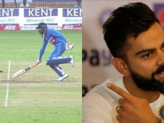 india-vs-west-indies-first-odi-match-ravindra-jadeja-run-out-and-virat-kohli-angry-ravindra-jadeja-na-run-out-mamale-bolya-captain-kohli-baher-bethela-loko-match-na-chalavi-shake