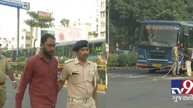 Police reconstruction in Ahmedabad bus accident case