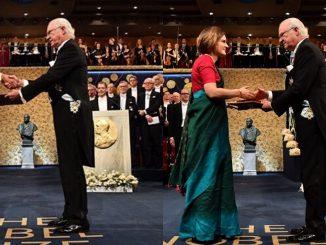 abhijit-banerjee-esther-duflow-turn-up-in-dhoti-saree-to-receive-economics-nobel-