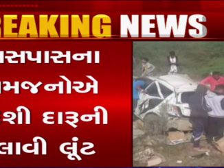 car-carrying-overturns-brings-cheers-to-passersby-narmada