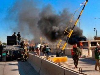 us strike baghdad airport iran iraq commanders killed hashed military force baghdad airport par america ni air strike iran na military genral sulemani sahit 8 loko na mot