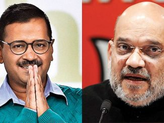 arvind kejriwal and amit shah first meet after delhi election delhi ma jit medvya bad pratham vakhat kejriwal ane amit shah vache mulakat