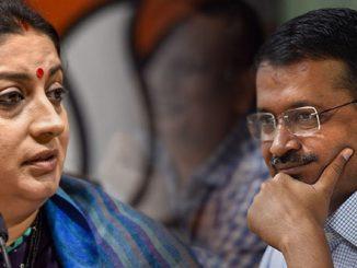 delhi elections 2020 arvind kejriwal smriti irani bjp voting delhi vidhansabha election matdan ni sathe sathe aa mamle CM kejriwal ane smriti irani twitter par aamne samne