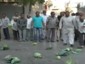 Angry over unfair prices farmers throw vegetables on road in Rajkot Upleta