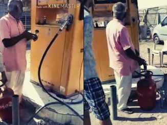 Viral Video : Cooking gas cylinder being filled from LPG pump in Gondal
