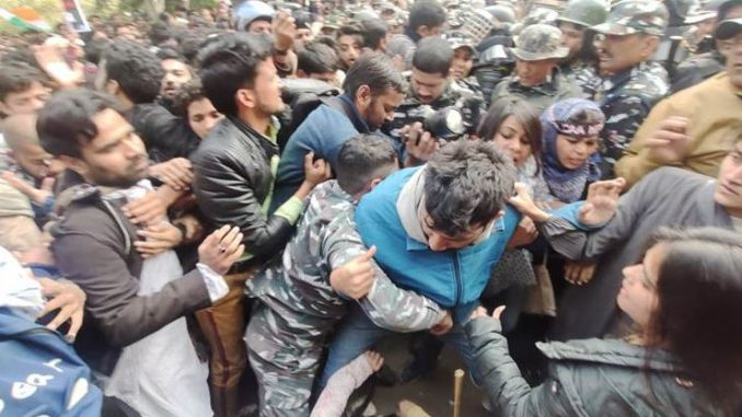 security-forces-stopped-jamia-students-protest-march-against-caa-nrc-npr-near-holy-family-hospital