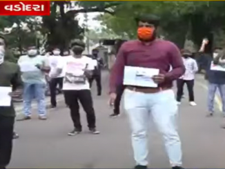 ABVP members stage protest in Vadodara urging people to boycott Chinese products