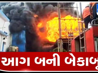 Massive fire breaks out in Shakti Bio Science company in Vapi GIDC, more than 6 fire tenders reached the spot Vapi ma aaveli GIDC ni company ma aag bani bekabu juvo video