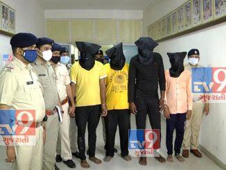 crore rupiya ni nanakiya levad devad ma saurashtra ni kukhyat gang na 4 gangster ne sarthana police e gatak hathiyaro sathe jadpya