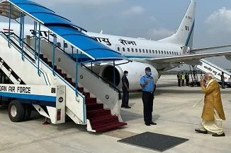 PM narendra modi leaves for Lucknow from Delhi. He will reach Ayodhya at 11:30 am for foundation stone laying ceremony of RamMandir