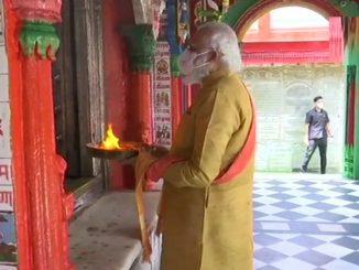 PM Modi arrives at the 10th century Hanuman Garhi Temple on arrival in Ayodhya Ram Mandir bhumi poojan Hanuman garhi mandir ma pochya PM Modi thodi var ma ram janmbhumi pohchse