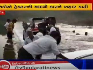 Car gets stuck in swollen Moj river driver rescued Rajkot