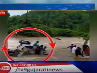 Jeep swept away by rain water at Abu road, all passengers rescued