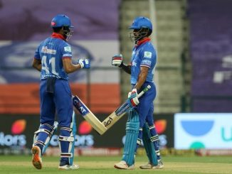 T20 league opner shikhar dhavan na annam 69 run sathe DC na 162 run MI e 4 wicket lidhi