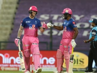 T-20 league Stokes ane samson mumbai na bowlers same tuti padya RR ni 8 wicket thi jit