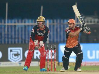 T20 league RCB na asaan score ne par kari SRH no 5 wicket e vijay saha ni 39 run ni ining