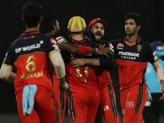 T20 league RCB na bowlers same KKR dharashyi 9 wicket gumavi ne KKR ni 82 run e naleshi bhari har