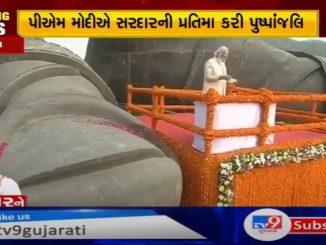 Prime Minister Narendra Modi pays homage to Sardar's huge statue at Kevadia on Sardar Jayanti