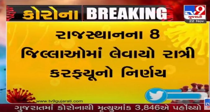Now Rajasthan government has imposed night curfew in eight districts including Jaipur, Udaipur, Jodhpur and Ajmer.